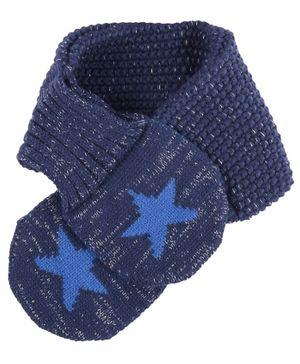 Yellow Bee Boys Knitted Star Scarf - Blue