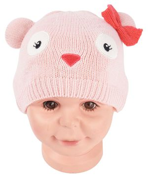 Yellow Bee Kitty Hat With Bow Applique - Pink