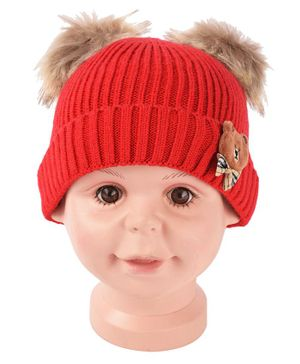 Yellow Bee Pom Pom Hat With Bear And Bow Applique - Red