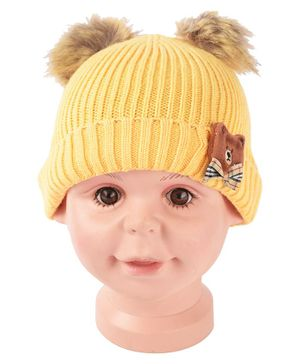 Yellow Bee Pom Pom Hat With Bear And Bow Applique - Yellow