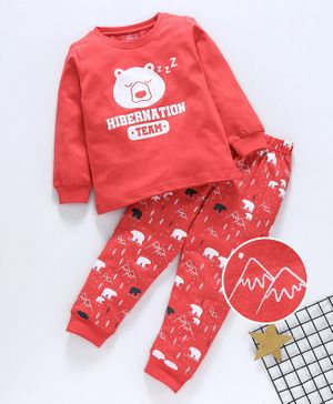 Babyhug Full Sleeves Night Suit Bear Print - Red