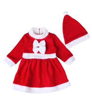 Pre Order - Awabox Bow Decorated Christmas Theme Full Sleeves Dress With Cap - Red