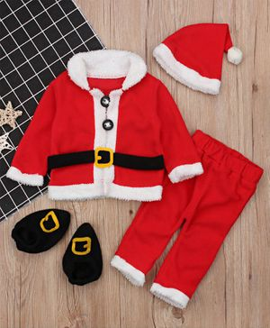 Pre Order - Awabox Santa Claus Costume Christmas Theme Full Sleeves Shirt With Elasticated Pants Booties & Cap - Red
