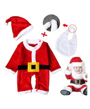 Pre Order - Awabox Christmas Theme Full Sleeves Romper With Cap & Bib - Red