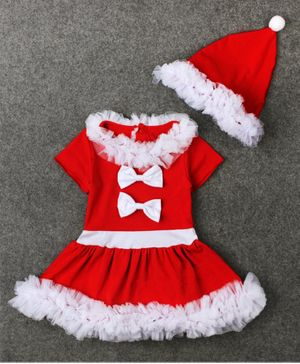 Awabox Bow Decorated Half Sleeves Christmas Dress With Cap - Red