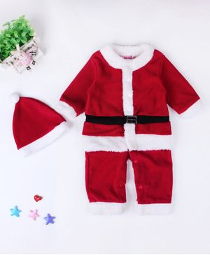 Awabox Santa Claus Christmas Theme Full Sleeves Romper With Cap - Red