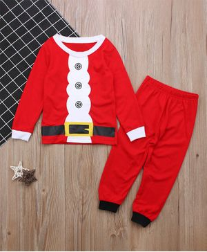 Pre Order - Awabox Santa Claus Christmas Theme Printed Full Sleeves T-Shirt With Elasticated Pants - Red