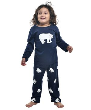 Funkrafts Full Sleeves Polar Bear Print Night Suit - Navy Blue