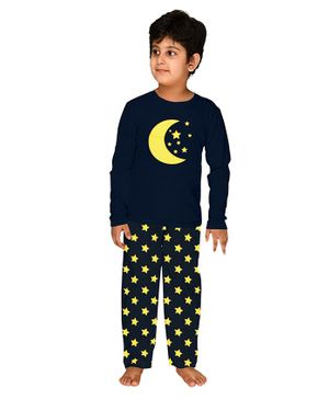 Funkrafts Full Sleeves Moon & Star Print Night Suit - Navy Blue
