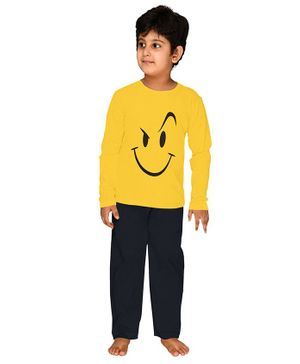 Funkrafts Full Sleeves Wink Face Print Night Suit - Yellow & Blue