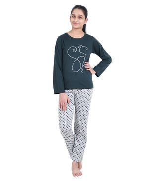 Funkrafts Full Sleeves Cat Pattern Polka Dot Print Night Suit - Green & Grey