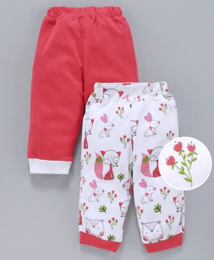 Marshmallow Full Length Lounge Pants Pack of 2 - White Red