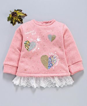 Marshmallow Party Wear Winter Wear Full Sleeves Top Heart Print - Peach