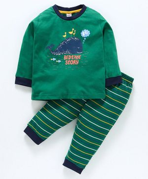 Zero Full Sleeves Tee And Stripe Lounge Pant Whale Print - Green