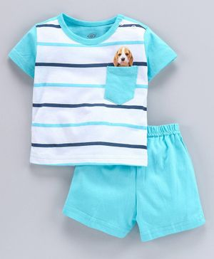 Zero Half Sleeves Stripe Tee And Shorts Puppy Print - Blue White