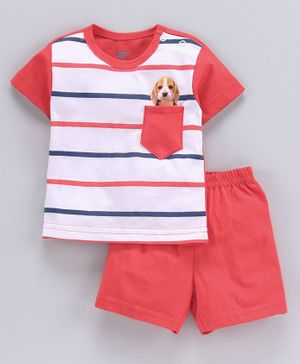 Zero Half Sleeves Stripe Tee And Shorts Puppy Print - Red White