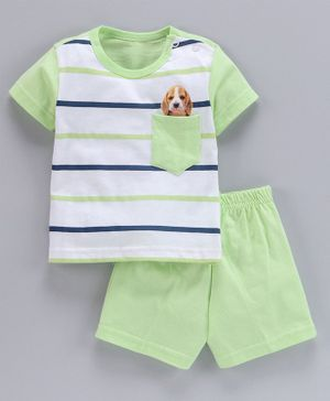 Zero Half Sleeves Stripe Tee And Shorts Puppy Print - Green White