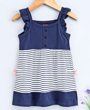 Babyhug Sleeveless Striped Frock - Navy Blue