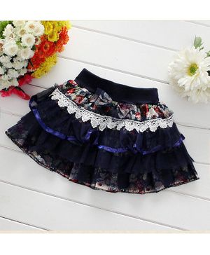 Pre Order - Awabox Lacey Floral Print Knee Length Skirt - Navy Blue