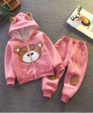 Pre Order - Awabox Bear Patch Full Sleeves Hooded Jacket & Elasticated Pants - Pink
