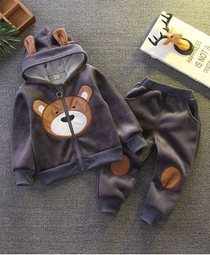 Pre Order - Awabox Bear Patch Full Sleeves Hooded Jacket & Elasticated Pants - Grey
