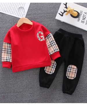 Pre Order - Awabox Checkered Full Sleeves Sweatshirt With Elasticated Pants - Red
