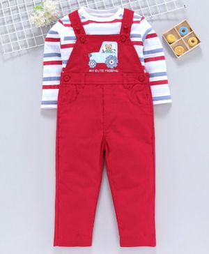 ToffyHouse Corduroy Dungaree With Full Sleeves Striped Inner Tee Vehicle Patch - Red