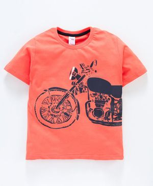 Taeko 100% Cotton Short Sleeves Tee Motor Cycle Print - Orange