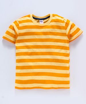 Taeko Half Sleeves Stripe Tee - Yellow Orange