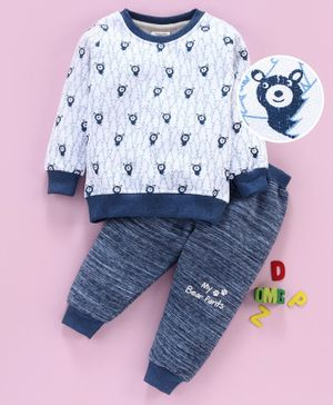 Ollypop Winter Wear Full Sleeves Top & Bottom Bear Print - Blue White