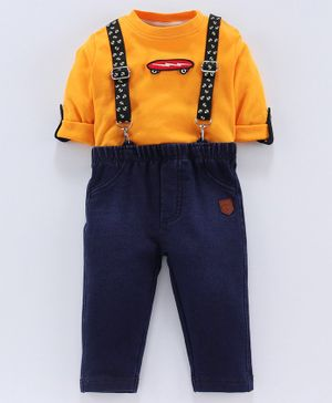 whaou Skate Board Patch Full Sleeves Tee With Suspenders & Bottom - Yellow