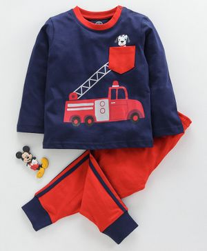 Tambourine Fire Truck Print Full Sleeves T-Shirt With Bottom - Navy Blue