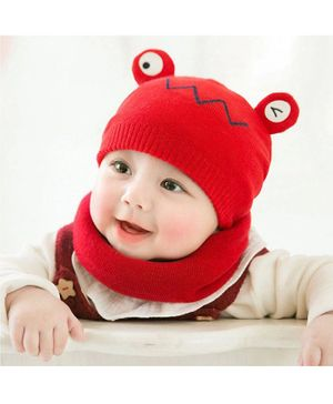 Ziory Cute Frog Beanie Cap With Bib - Red