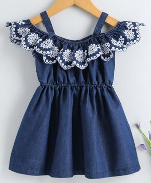 Babyhug Cold Shoulder Sleeves Denim Frock Floral Embroidered - Blue