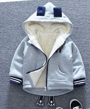Pre Order - Awabox Bear Patch Long Sleeves Jacket - Grey & White