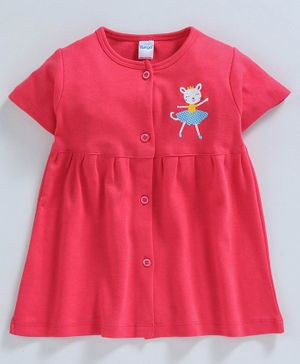 Tango 100% Cotton Half Sleeves Frock Kitty Print  - Red