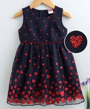 Babyhug Sleeveless Frock Heart Embellished - Navy