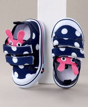 Cute Walk by Babyhug Casual Shoes Polka Dot Print - Navy Blue