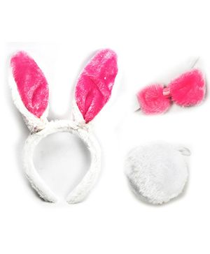 Party Anthem Bunny Hairband With Tail & Bow - Pink & White