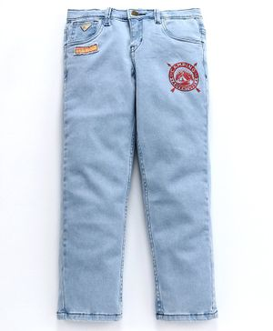 Kiddopant Badge Printed Full Length Adventure Patch Detailed Jeans - Sky Blue