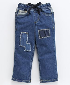 Kiddopanti Full Length Patch Detailed Jeans - Blue