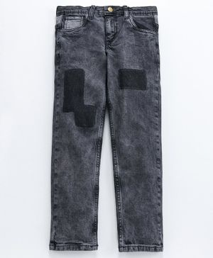 Kiddopanti Full Length Patch Detailed Jeans - Grey
