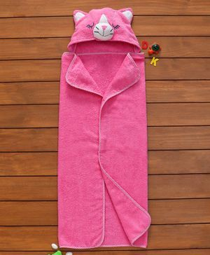 Babyhug Hooded Terry 3D Towel Cat Design - Pink