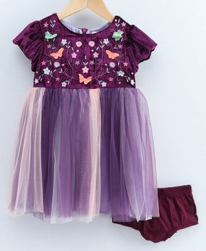 Nauti Nati Flower Embroidery Detailing Short Sleeves Dress With Bloomers - Purple