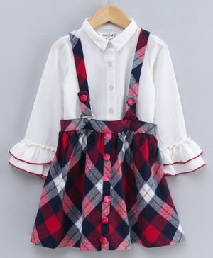 Nauti Nati Ruffled Full Sleeves Top With Checkered Dungaree Style Skirt - Red