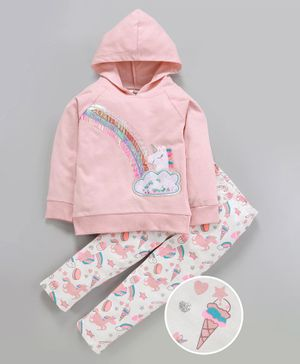 Nauti Nati Unicorn & Rainbow Patch Full Sleeves Hoodie With Elasticated Pants - Pink & White
