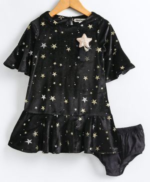 Nauti Nati All Over Stars Printed Half Sleeves Dress With Bloomers - Black