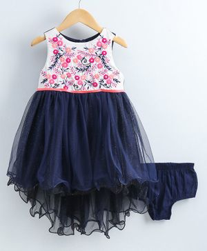 Nauti Nati Sleeveless Flower Embroidery Detailing High Low Dress With Bloomers - Navy Blue