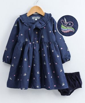 Nauti Nati Full Sleeves Heart & Star Embroiderey Detailing Dress & Bloomers - Navy Blue