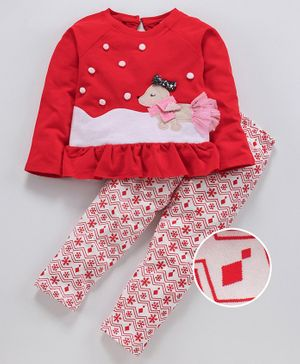 Nauti Nati Dog Patch Full Sleeves Top With Elasticated Pants - Red